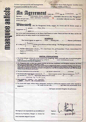 The Who Repro 1965 Marquee 21 December Concert Contract . Not Cd Dvd