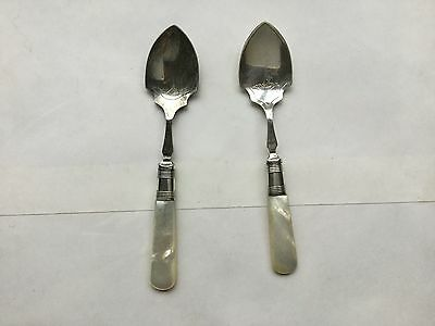 Silver Plated Conserve Spoons with Mother Of Pearl Handles