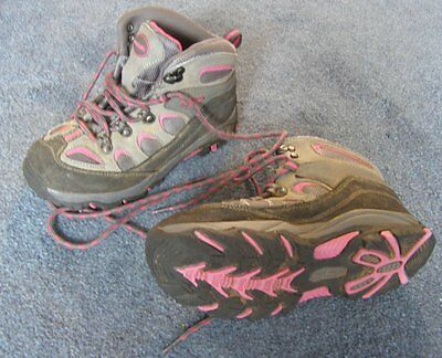 MountainLife girls walking boots, Size 2 (EU 34.5). Grey and pink.
