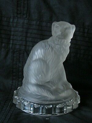 """Antique French Baccarat Frosted Glass Figurine Paperweight """"dog"""""""
