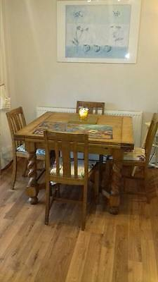 oak extending dinning table and chairs