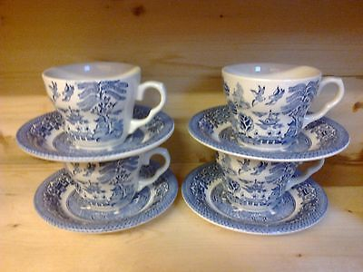 Eit England Willow Pattern 4 X Cups & Saucers