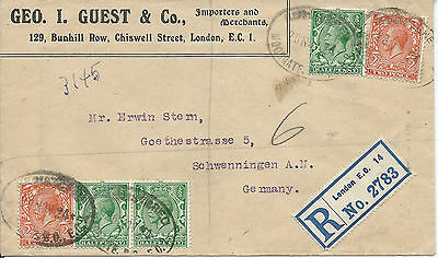 GB 1924 5.1/2d Geo.Guest & Co Reg'd Cover from Moorgate London EC to Germany