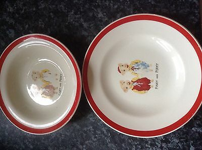 pinky and perky rare plate and dish 1950