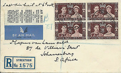 GB 1937 Last Airmail at 6d Rate Reg'd Cover from Streatham to Johannesburg SA
