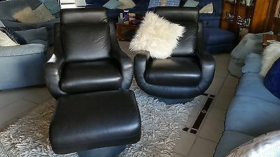 Vintage Black Leather Swivel Chairs and Swivel Foot Rest