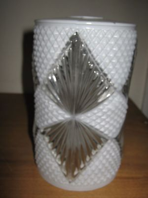 Art Deco Edwardian Opaque Lamp Light Shade With Diamond Effect Clear Panels