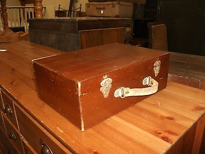 Small Vintage Wooden Storage Box Suitcase Style Craft Hobby Tool Chest Toy Trunk
