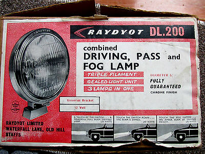 Classic 1950's  Raydyot Dl The Ultimate 3 Way Spot /fog Lamp  N.o.s.
