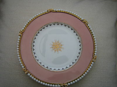 Antique Rare Beaded Plate Vgc With Hanging Rack