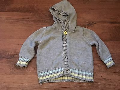 Baby Boys Button Up Cardigan With Hood In Grey 9-12 Months