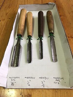 Set Of 4 Wood Carving Gouges Featuring Marples