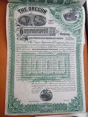 1896 Oregon Improvement STOCK  BOND Gold Certificates, Railroad & others $1000