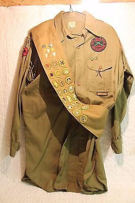 ~ Boy Scout Shirt & Merit Badge Sash 1940'S? Loaded,22 MBs + Rank,Position,Pins
