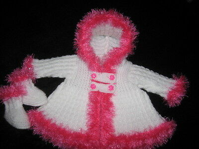 Hand Knitted White /cerise Eyelash Hooded Jacket & Bootees For 20 Inch Reborn