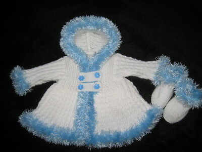 "Hand Knitted White/ice Blue Eyelash Jacket And Bootees For 20"" Reborn 0-3 M Baby"