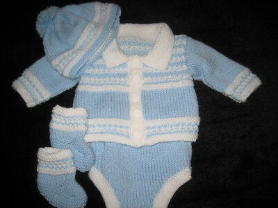 Hand Knitted Blue / White Cardigan Set For 18- 20 Inch Reborn Or  Newborn Baby