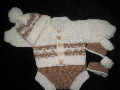 Hand Knitted Cream / Tan Cardigan Set For 18- 20 Inch Reborn Or  Newborn Baby