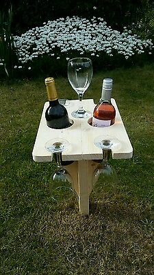 Folding Wooden garden wine bottle/glass holder great for drinks on the lawn