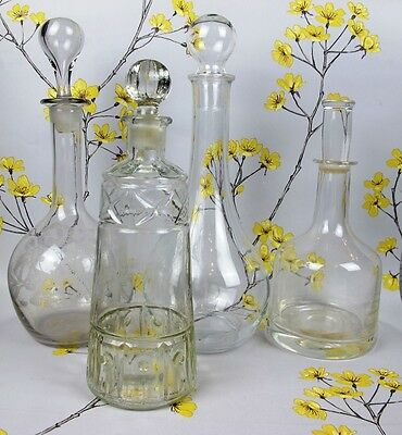 JOB LOT: Four 4 x vintage alcohol DECANTERS. Etched, crystal, pressed glass.
