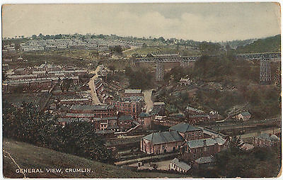 General View Crumlin Colour Postcard Posted 1938 Near Blackwood Monmouthshire