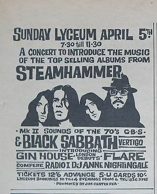 Black Sabbath 1970 3 UK concert ads + Bonus