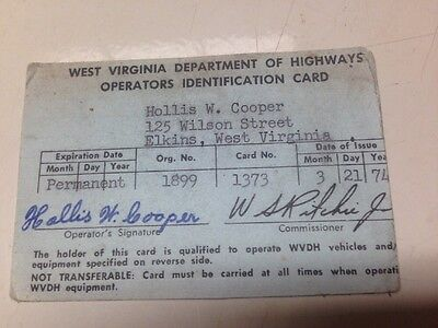 1974 West Virginia Operators Permit, early driver's license