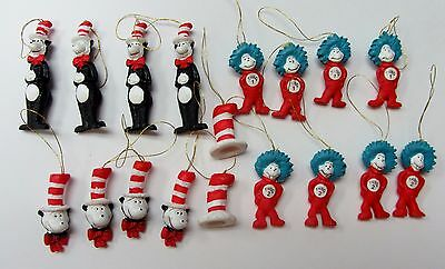 THE CAT IN THE HAT~ DR.SEUSS MINIATURE 18 Hanging Tie On 3D Ornaments NEW