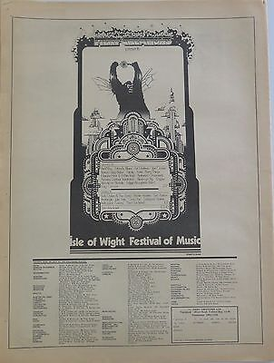 Bob Dylan The Band The Who Moody Blues 1969 Isle of Wight Festival full-page ad