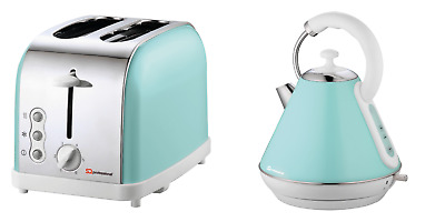Green Pyramid Style 1.8L Cordless Electric Kettle & 2 Bread Slice Toaster Set SF