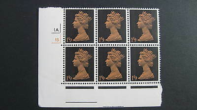 GB QE2 1967-70 1/9 SG 744 in block of 6 margl lower LH corner with 1A/1B control