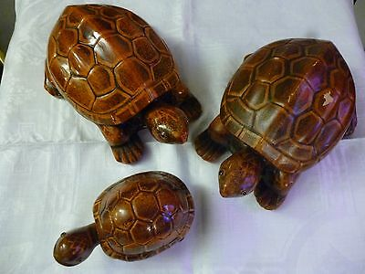 Tortoise ceramic set of 3 trinket containers two 9 inch & 5 inch