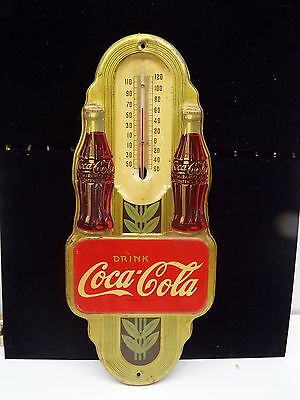 Original 1941 Drink Coca Cola Double Bottle Thermometer Sign Gold