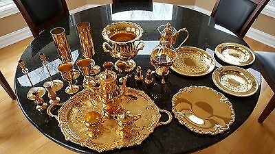 Vintage 22 pc International Silver Co. 24 Kt Gold Electroplated Party Set