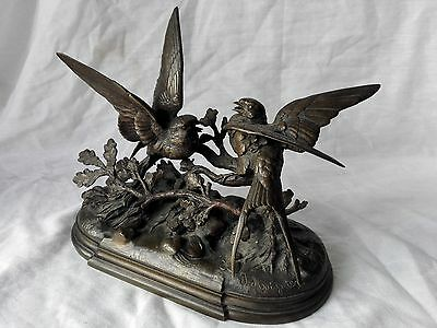 Bronze group of fighting swallows on braches MOIGNIEZ JULES (1835-1894) signed