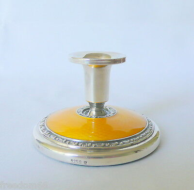 Art Deco Norway NORSK Sterling Silver Yellow Enamel Guilloche Candlestick