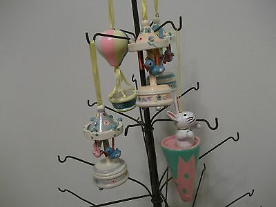 Vtg.?wooden Easter Tree Ornaments--Birds On Carousels~Balloon-Rabbit,,