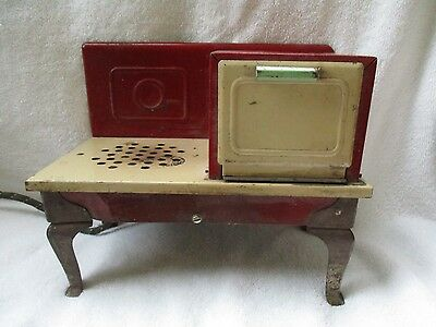 Vintage Red Green Cream Childs Metal Electric Stove Range Oven Works Kingston ?