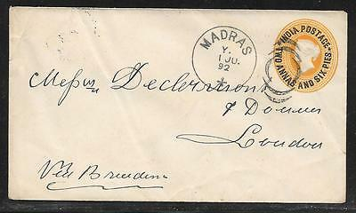 INDIA - 2A 6P /4A 6p SURCHARGED STATIONERY ENVELOPE - USED MADRAS TO UK 1892