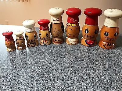 4 Sets of Wooden salt and pepper shakers