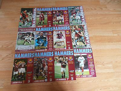 X 12  West Ham Football Programmes 1997, 1998, 1999 and 2000 - Home Games