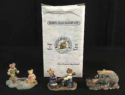 Boyds Bearly Built Village Town Day Care C C Sawyer Elephant FIGURE SET- perfect