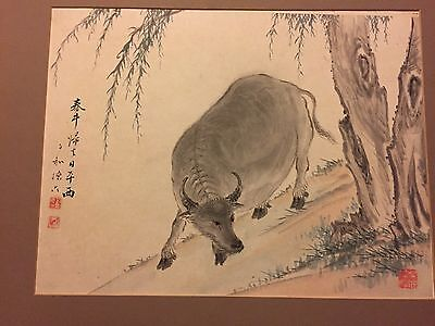 Fine Chinese Watercolor Painting Antique 19th C. Water Buffalo Seal / Signed