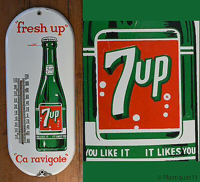 Vintage 1950s Seven Up 7up Thermometer Soda Porcelain Advertising Sign Canada