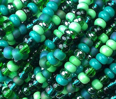 "Czech Glass Seed Beads Size 6/0 "" MIX GRASS GREEN "" Strands"