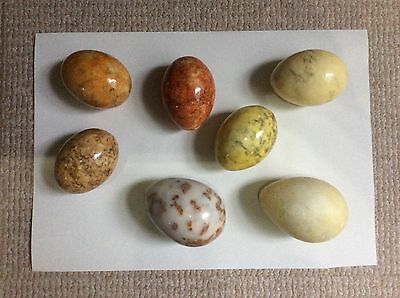 Set of 7 Polished Granite Marble Eggs Different Sizes &  Colours