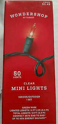 Christmas Holiday Clear Mini Lights Indoor or Outdoor 50 Count  ~ 11 ft