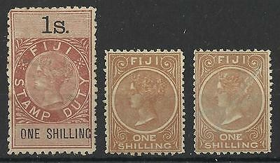 Fiji Queen Victoria One Shilling Stamp Duty Mint / Used