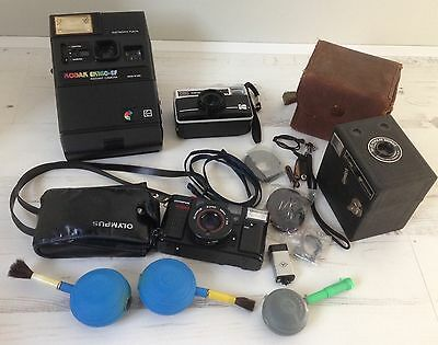 Vintage Cameras and Accessories, Olympus, Kodak, Agfa, JOB LOT TO CLEAR