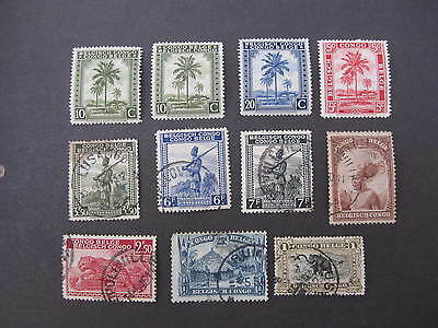 Belgium Congo group of 11 mint and used early stamps as shown